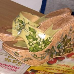 Туфли, декорированные с применением техники декупаж