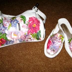 Туфли и сумка , декорированные с применением техники декупаж